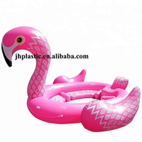 0.5mm PVC new hot sale inflatable giant pink flamingo float/raft for six people for water park/amusement park