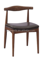 Factory Price Round End Tables Bistro Wooden Table Bonded Leather Dining Chair