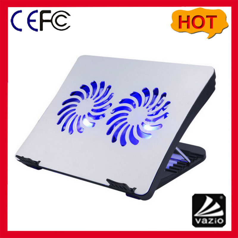 height adjustable aluminum laptop cooler fan pad with two 14cm LED light fans