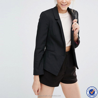 wholesale women workwear jackets plain black varsity jacket girls blazer jackets