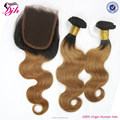 ombre brazilian virgin hair T color 1b/30 body wave hair bundles with lace closure