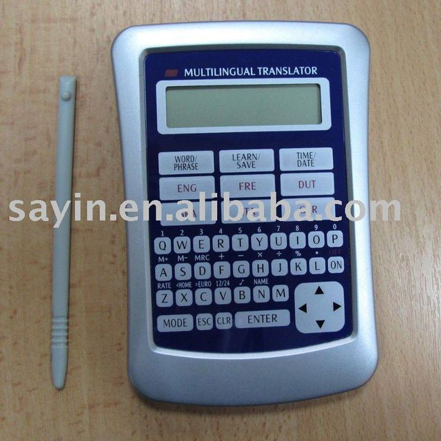 Pocket language translator with calculator