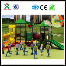 Long plastic playground slide with swing and play yard slides( QX-031A)