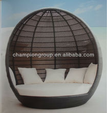 AR-6159 Alum frame PE rattan day bed for outdoor with canopy