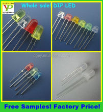 Free Samples! Factory Price! 5mm DIP LED round/straw hat/flat top/oval (CE & RoHS)