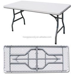 folding plastic event table 6ft, off white plastic folding table, 183cm foldable legs with one-piece top