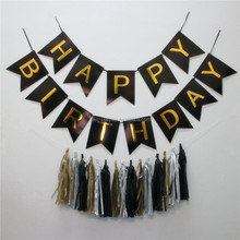 Birthday Decoration Set With Paper Flower Fans Glittering Polka Dot Paper Garland Tassel Happy birthday Bunting