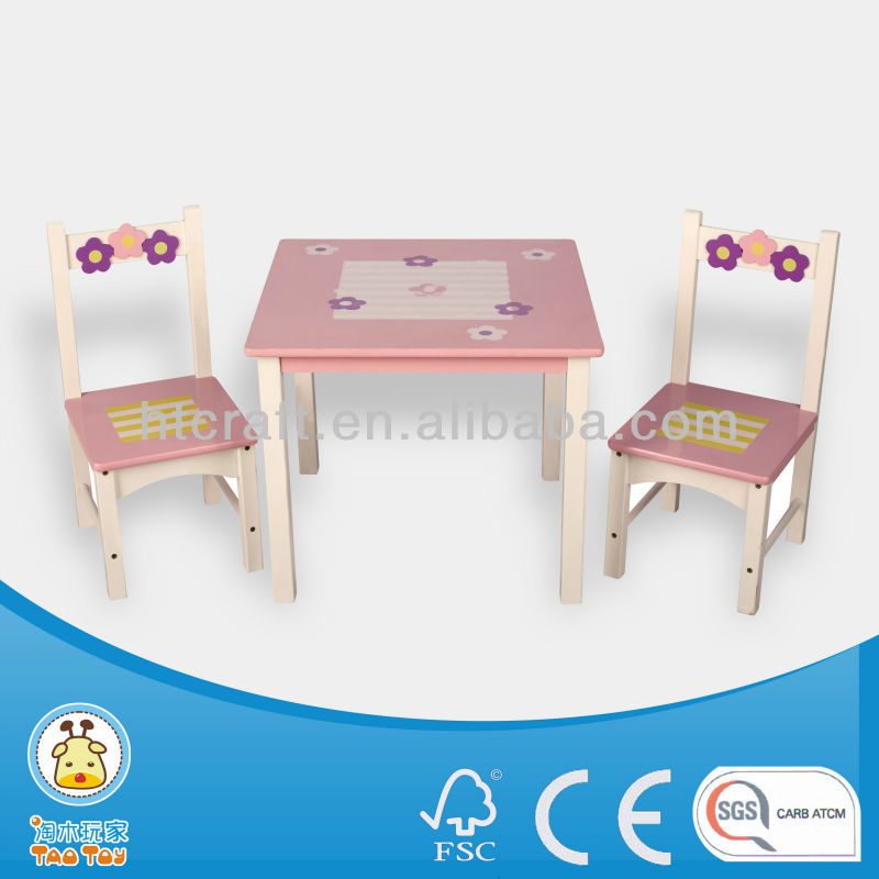 wooden children partners square table and chair set/kids furniture