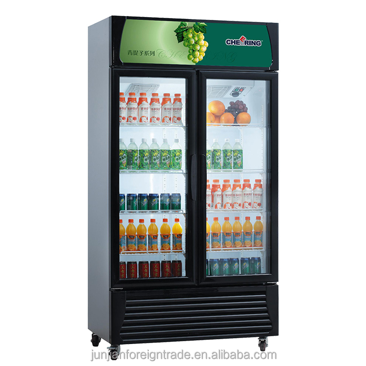 Commercial refrigerator upright double glass door refrigerator for supermarket