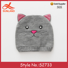 S2733 hot sale crochet patterns baby beanies knit animal cat hats with ears