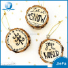 Black Printed Logging Circle Cut Sliced Wood Accessories Christmas Ornaments For Wood Hang Deco