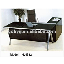 Top quality modern boss office table HY-B82 black executive desk with tempered glass