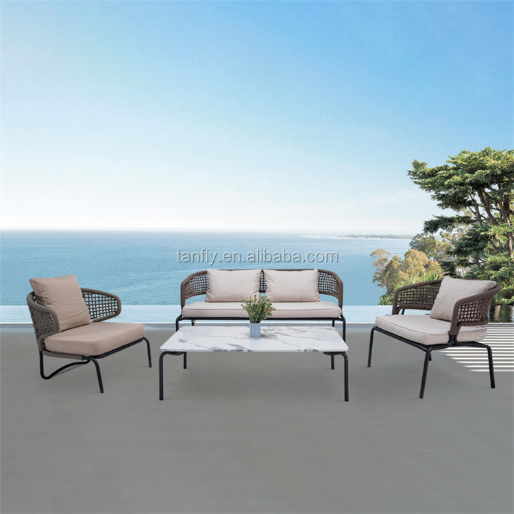 Luxury Garden Furniture Flat Rope Single Sofa And Footstool