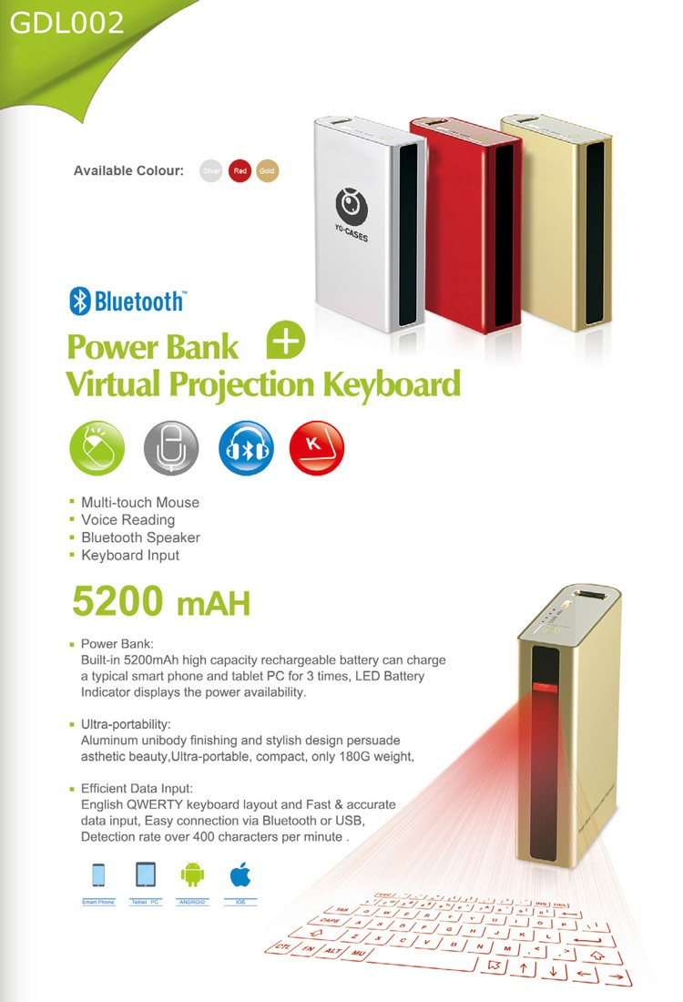 wireless virtual laser projection keyboard with power bank 5200mAh QWERTY AZERTY QWERTZ and Italian keybaord layout
