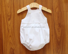 Baby girl boutique blank white romper baptism baby clothes wholesale