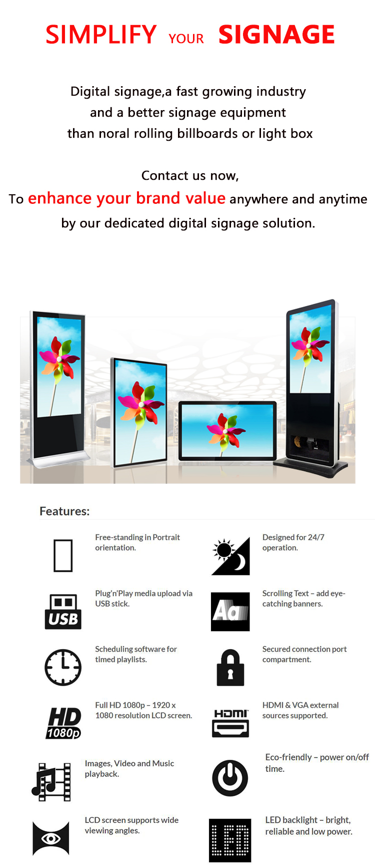 47 inch Auto Play Network lcd advertising display stand digital signage player