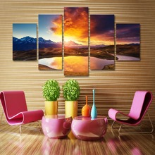 Set of Five rectangular art canvas painting digital pictures wall stickers home decoration seascape stretched art
