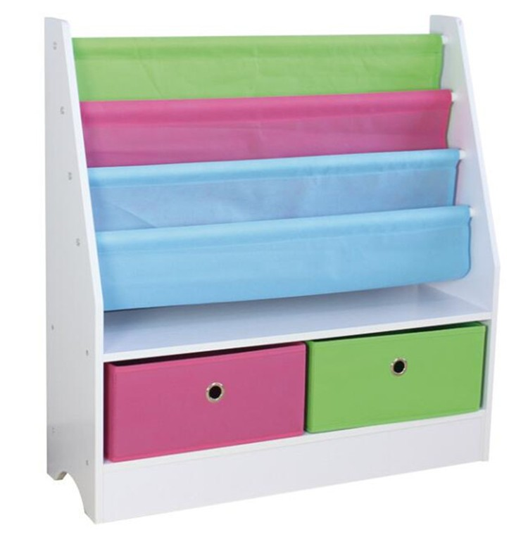 Kids Toy Sling Book Rack Display Shelf Organizer Kids Bookshelf with 2 Bins, 4 Tiers