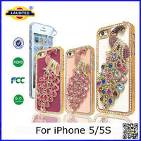 FOR APPLE iPHONE 5 LUXURY 3D PEACOCK CRYSTAL DIAMOND CASE BLING GEM HARD COVER