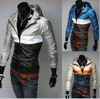 Moq.20pcs spell stitched color men's casual hooded jacket spring tide thin wicking jacket with 3colors/M/L/XL/XXL