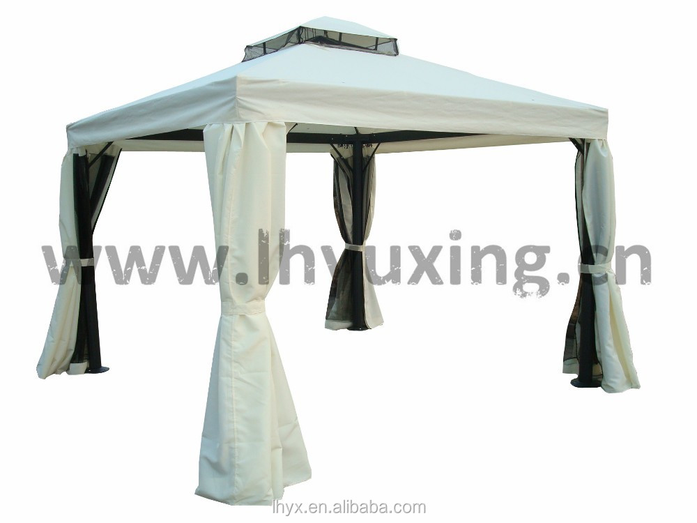 hot selling 3x3M 3x4M garden metal aluminum frame rome gazebo garden pavillion garden tent outdoor with double roof with curtain