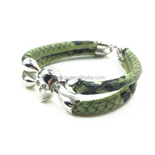 Jewelry Wholesale Silver Skull Charm Luxury Mens Python Leather Man Leather Peace Bracelet