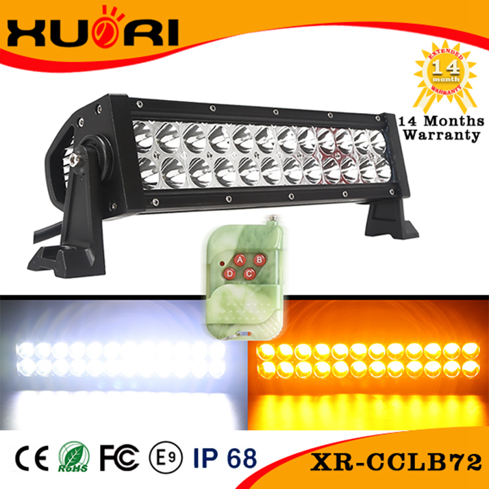 Popular Product 13.5Inch Color Changing Car LED Driving Light 72W LED Truck Bar Lights with Remote Controller