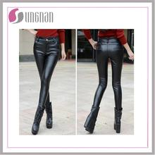 Spring models large size women's fashion Black Faux pu Leather stretch Legging Wholesale Candy Colors Pu Leggings For Fat Women