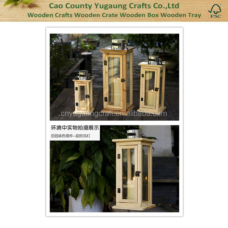 2016 Hot sale natural rustic home decoration garden wooden lantern wooden candle lantern storm lanterns