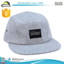 greay wool wholesale custom 5 panel hats with label
