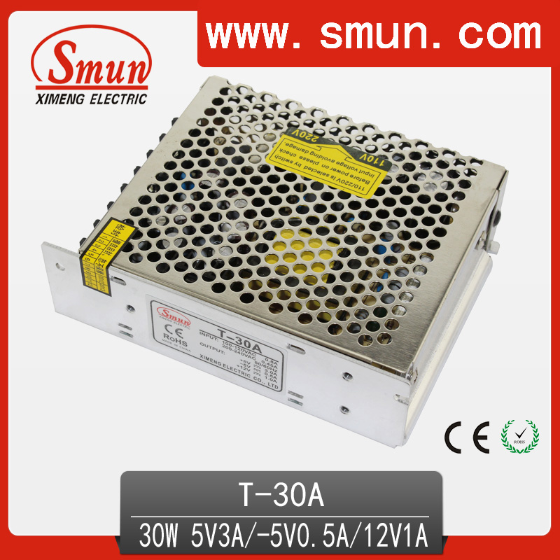 30W 5V 12V -5V Triple Power Supply With CE RoHS Approved