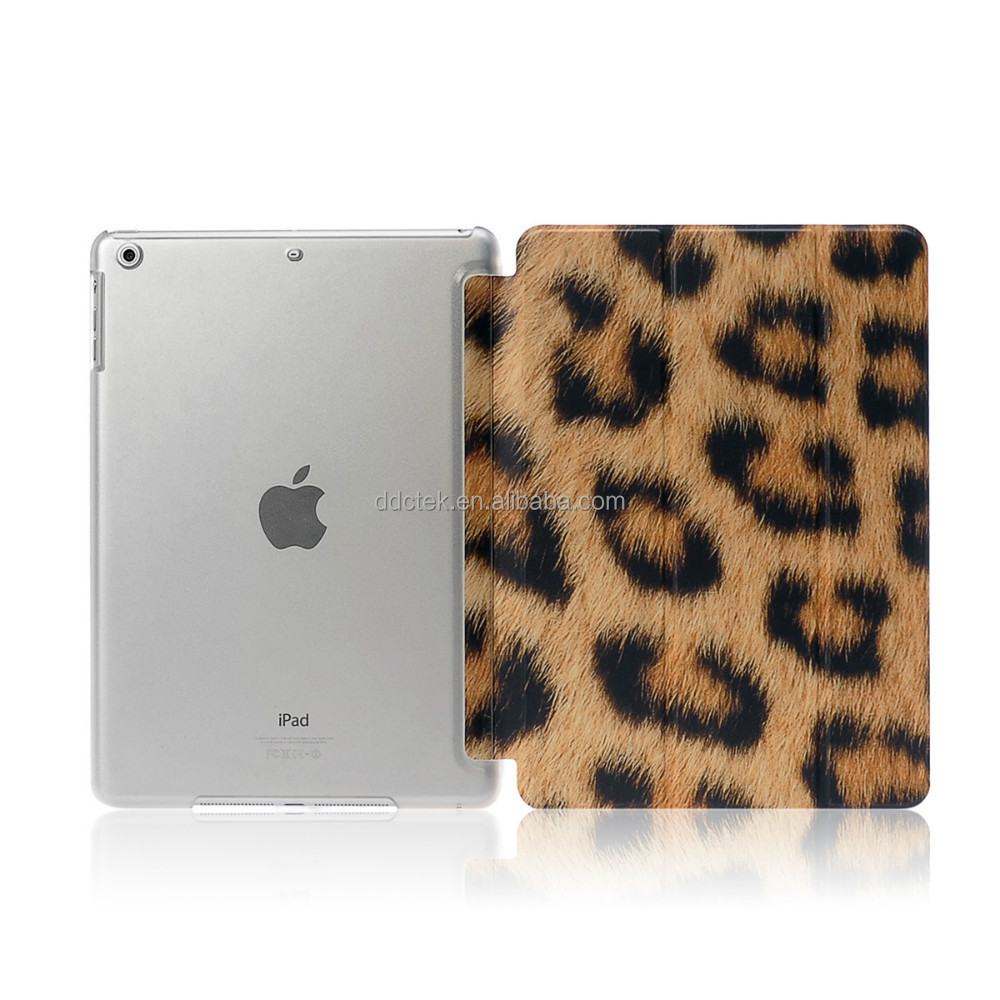 New arrival DDC factory Leopard image PC and PU leather cover case for ipad for ipad mini