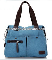 2013 fashion women canvas bag with leather trim and cotton webbing handles