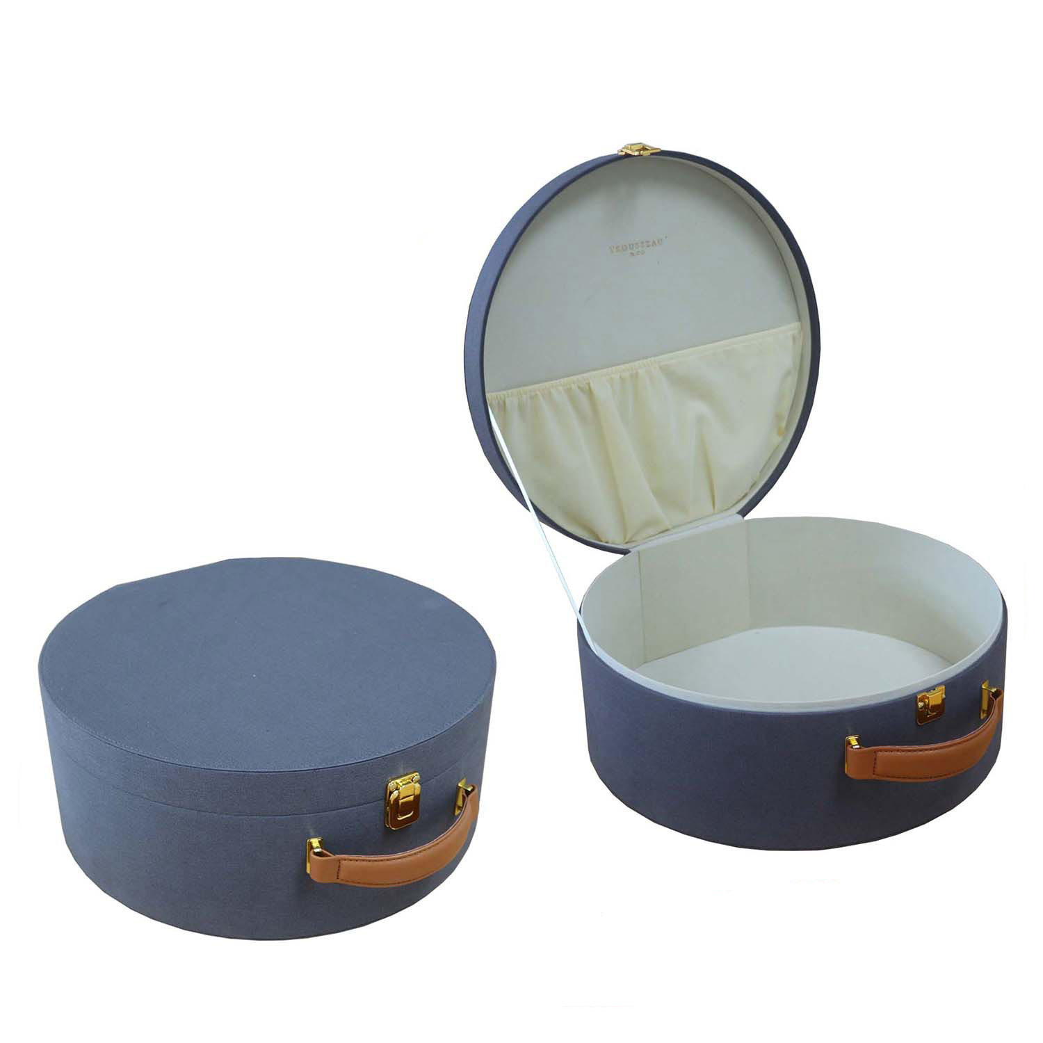 China Supplier Hand Made PU Leather Hinged Cosmetic Box