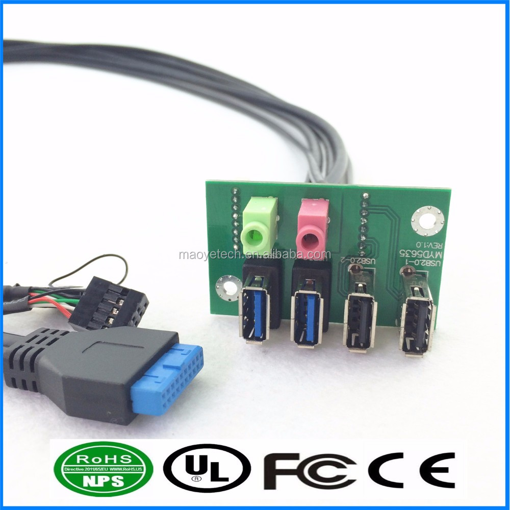 Dual USB 3.0 + USB2.0 +HD Audio I/O Front Panel Cable PC Board Cable for Computer