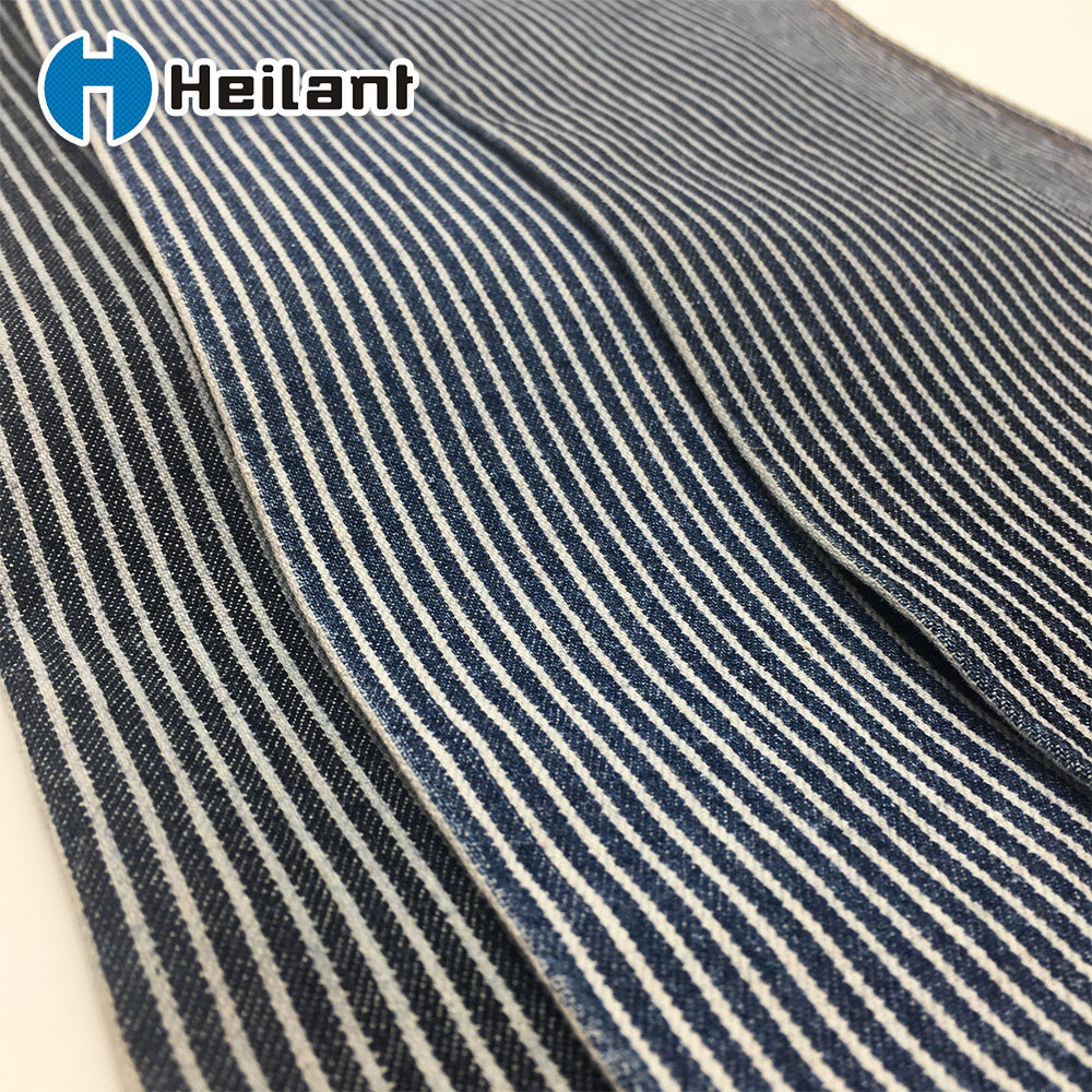 hickory stripe 100% cotton denim fabric blue and white for jacket and pants