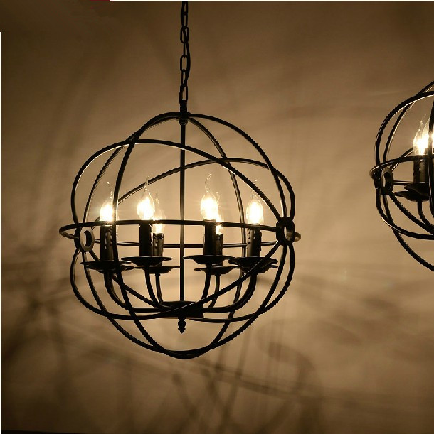 Vintage Rustic Black Iron Hanging Light Round ORB Chandelier