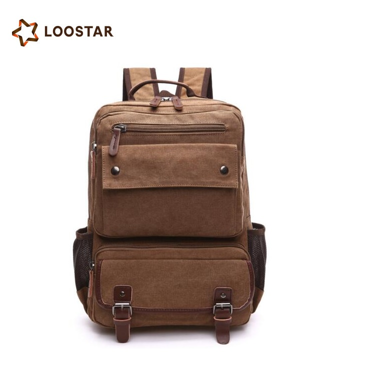 Loostar Low MOQ Hot-selling Plain Color Backpack German School Bookbags with Multi Pockets