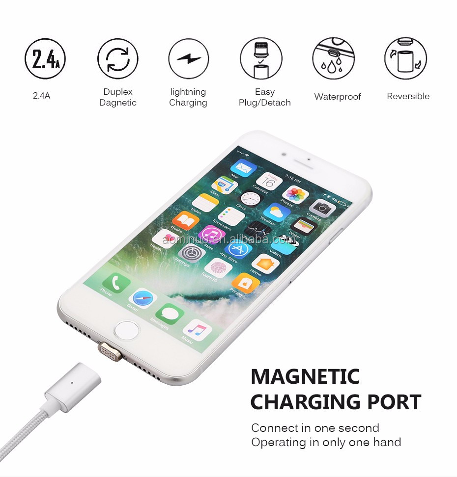 Braided Nylon Aluminum case Magnetic 2 in 1 Micro + 8 pins USB Data Sync Charging Cable For samsung S6 S7 and for iphone