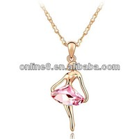High Quality Crystal Necklace,crystal pendant floating gold half moon with stars