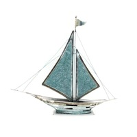 Turquoise Nautical Model Standing Sailboat Sculpture, Interior Design Home/Office Decoration