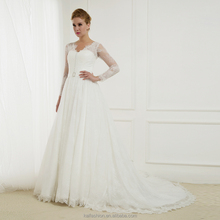 15094 Latest Long Lace Sleeve Wedding Dresses Deep V Neck Bridal Gown