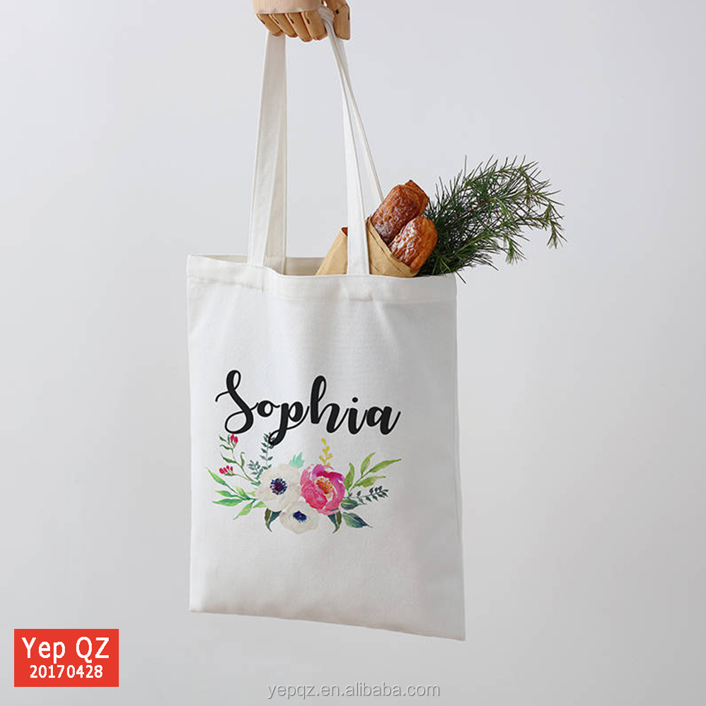 Wholesale flower wedding tote bag with logo custom printed white eco cotton bag