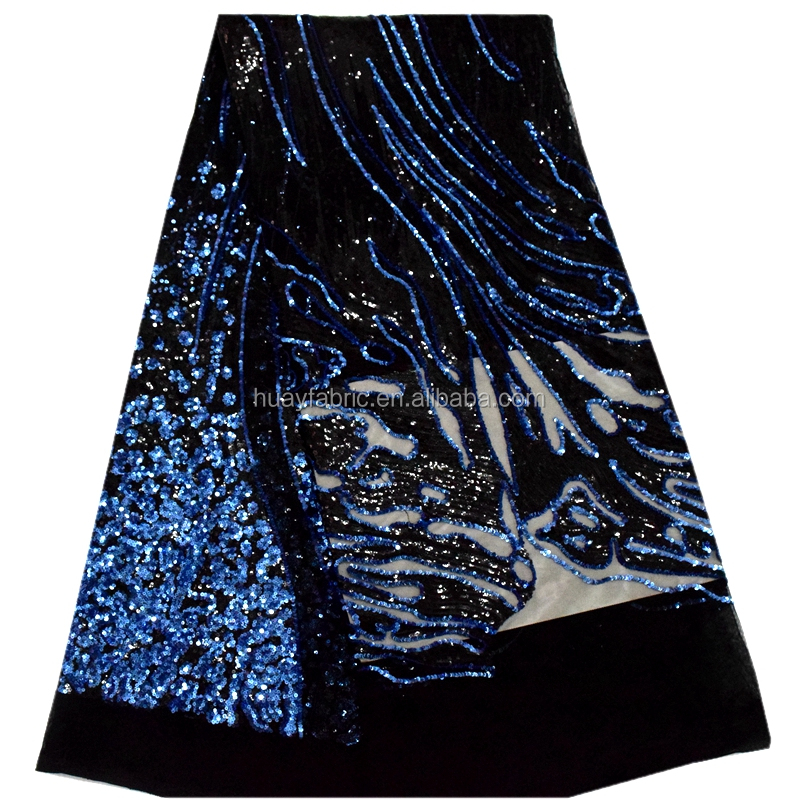 Royal blue african mesh lace fabric sequins wedding dress lace dubai HY0273