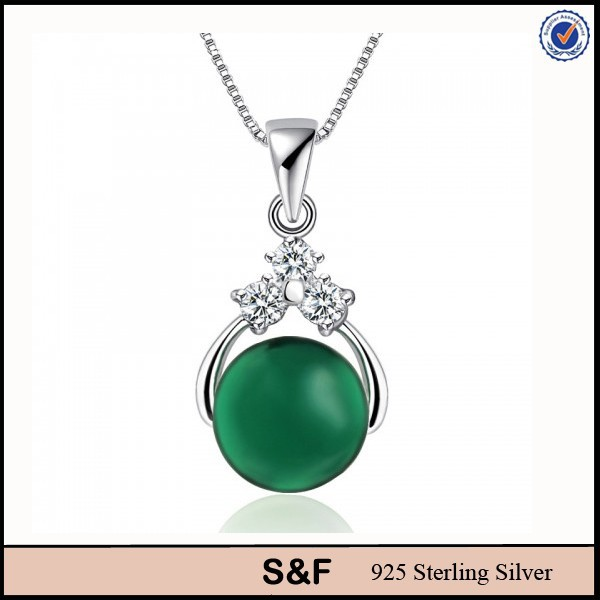 Hight quality Rhodium Plated 925 sterling silver green agate stone pendant