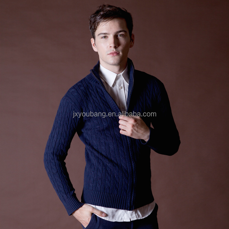 2017 hot sale casual style crew knitted men's zip cardigan coat