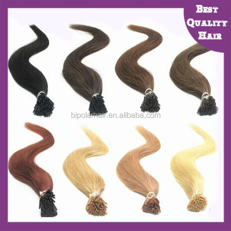 Top quality indian remy human hair extensions I tip hair extensions
