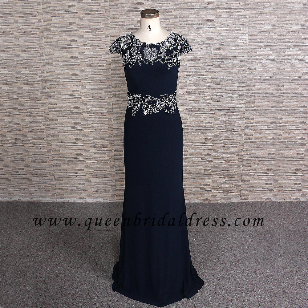 Romantic bateau neckline cap sleeves applique lace chiffon floor length mother of dress