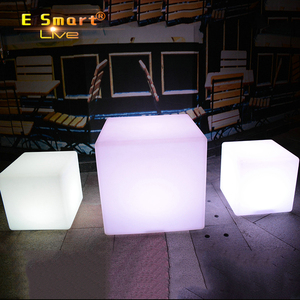 RGB power battery party outdoor LED plastic cube bar chair