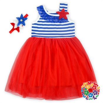 2016 Fashion Girl 4th Of July Dress With Headband Set Baby Girl Summer Dress Kids Party Dress Children Frocks Designs